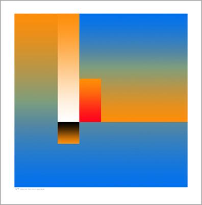 Blue Tonal Cubic Form 2 Print