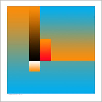 Cyan Tonal Cubic Form Print